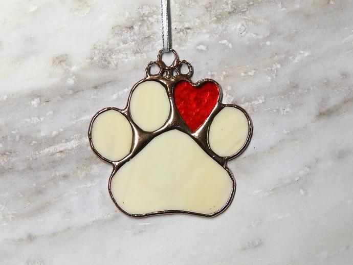 Animal Lover Home is Where the Paw is Fused Glass Christmas OrnamentSun Catcher; Cat; Dog; Pet