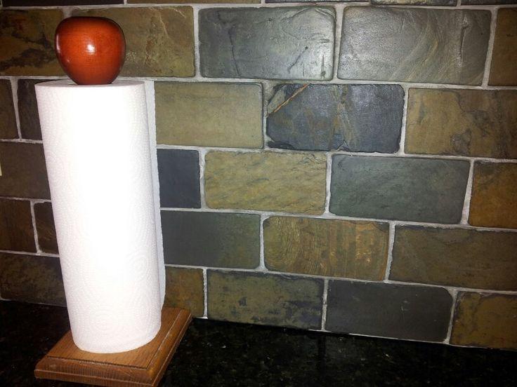 slate subway tile backsplash for the home pinterest