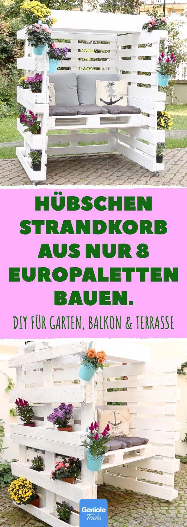 Hübschen Strandkorb aus nur 8 Europaletten bauen. DIY für Garten, Balkon & Ter