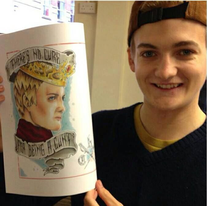 Tee hee. Spot on Joffrey fan art. Nice to see Jack Gleeson smiling!