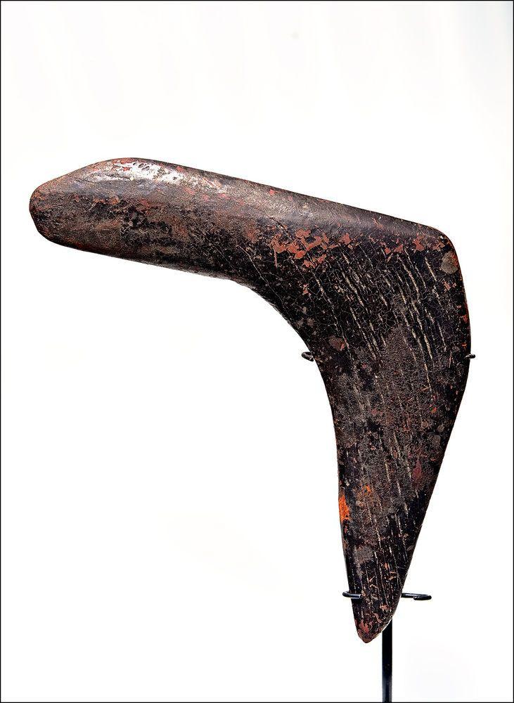 Old Queensland Outback Aboriginal BOOMERANG - 'proto-transitional' tar patina #Boomerangs