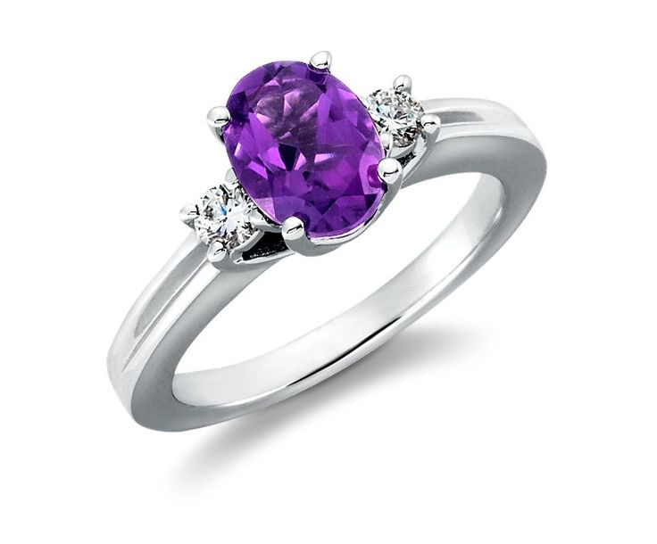 Amethyst and Diamond Ring in 18k White Gold (8x6mm) - Blue Nile