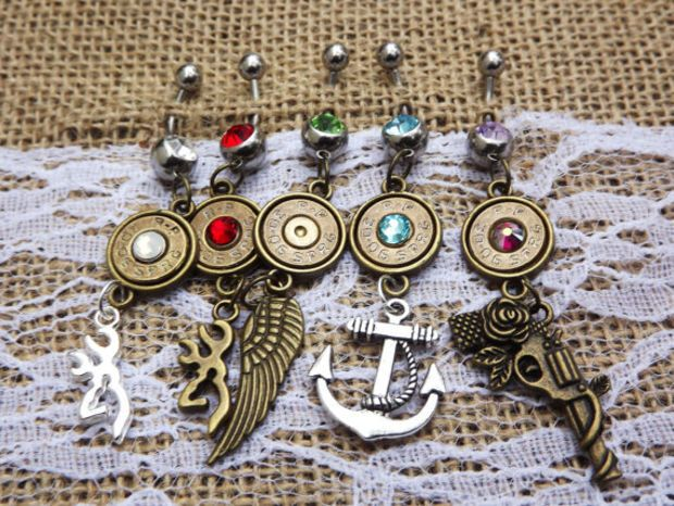 bullet belly button ring, bullet jewelry, brass bullet, country jewelry, country wedding, cowgirl jewelry, 30-06 bullet, gun jewelry