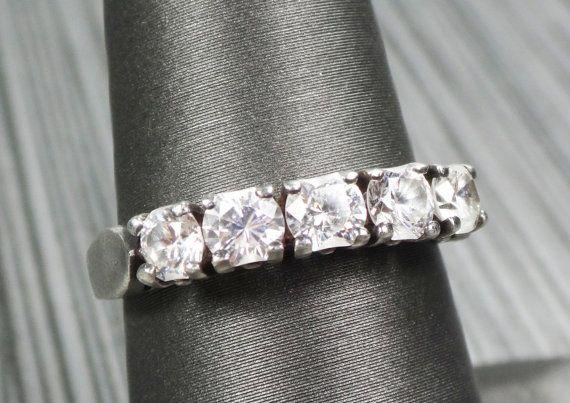 Vintage Sterling Silver Ring Sterling Glass Ring by BelmarJewelers