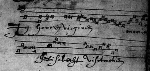 Partition de chant grégorien, registre BMS de la commune de Louvaines (Maine-et-Loire), 1601-1669, vue 1/442. Trouvée par Bruno, chantée par François (cliquez sur le lien).