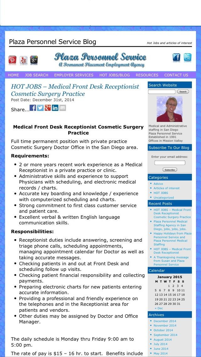Hiring a Front Desk Medical Receptionist for a cosmetic