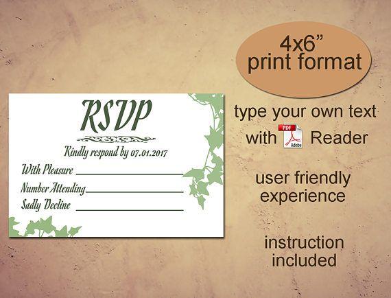 RSVP printable template Instant download diy editable pdf