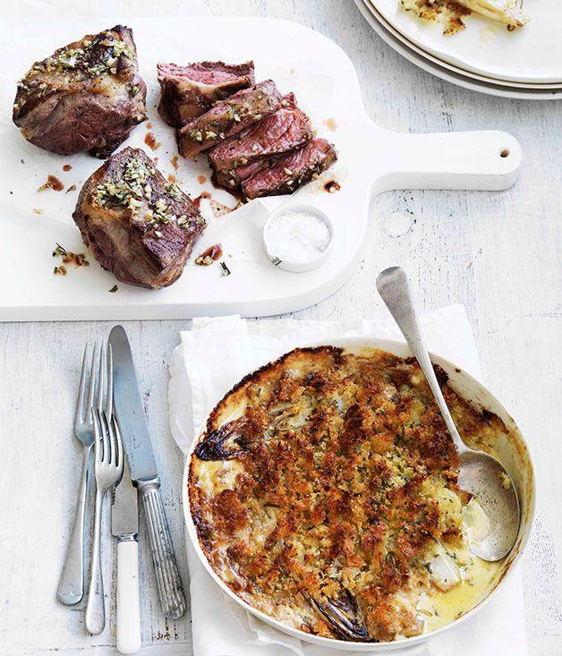 Rosemary roast lamb with witlof gratin