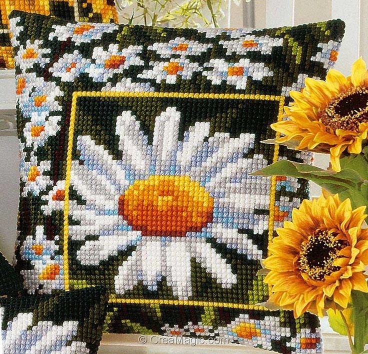 Coussin Marguerites Vervaco 768