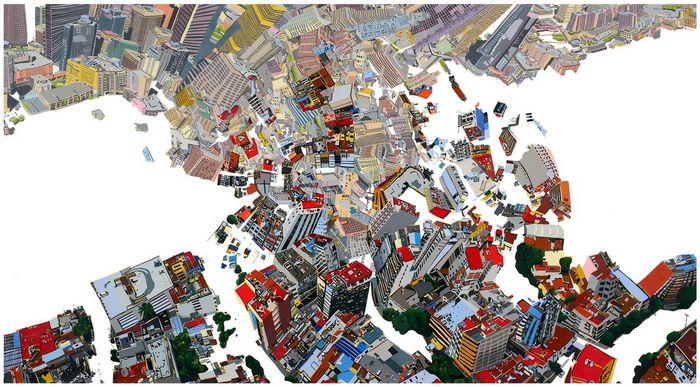 Mexico City-Los Angeles print by Susan Logoreci