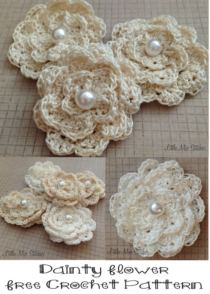 Dainty Crochet Flower Free Pattern 1                                                                                                                                                                                 More