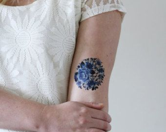Tatuaje temporal de Delft Azul / tatuaje temporal por Tattoorary