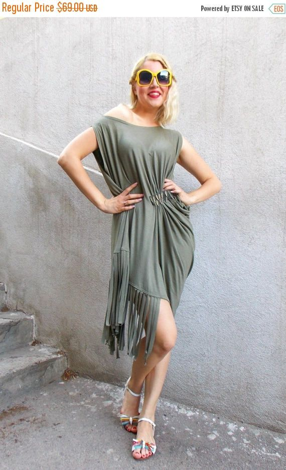 Just launched! SUN SALE 25% OFF Fringe Dress / Asymmetrical Khaki Dress with Fringes / Fringe Maxi Dress Tdk128 https://www.etsy.com/listing/237946887/sun-sale-25-off-fringe-dress?utm_campaign=crowdfire&utm_content=crowdfire&utm_medium=social&utm_source=pinterest