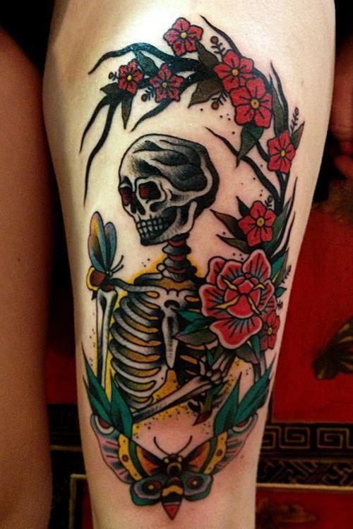 Skeleton surrounded by butterflies and flowers // Kelu
