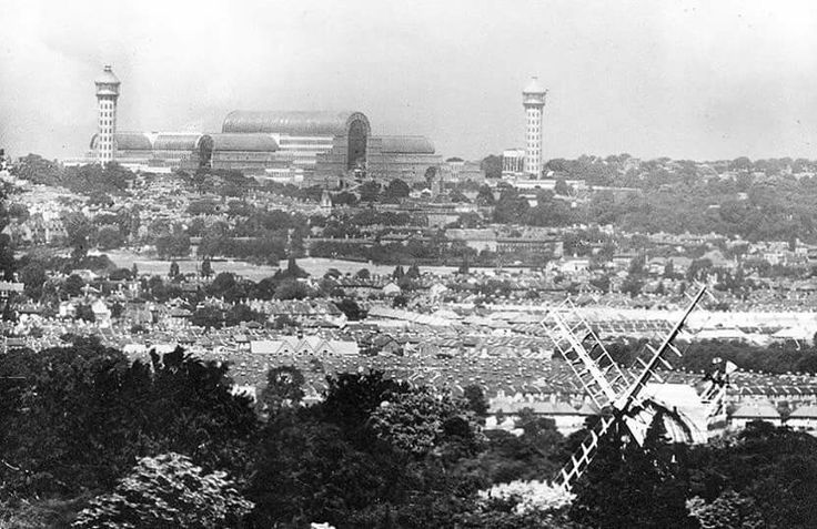 Crystal Palace from Shirley Hills. The Crystal Palace (pictured in 1932, with Shirley Windmill in the foreground) was rebuilt in an enlarged form on Penge Common, next to Sydenham Hill, an affluent south London suburb full of large villas