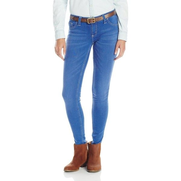 Wrangler Women's Rock 47 Skinny Leg Sits Above Hip Bright Blue Jean ($62) ❤ liked on Polyvore featuring jeans, skinny fit jeans, super skinny jeans, blue jeans, wrangler jeans and wrangler skinny jeans