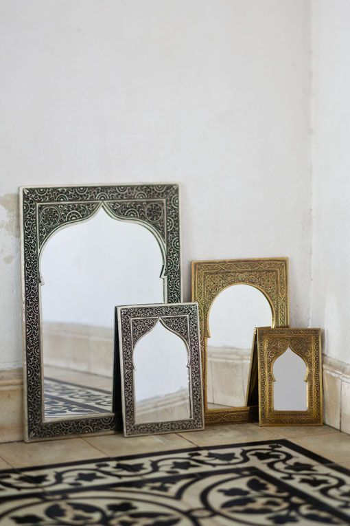 Embossed Metal Mirror from Morocco