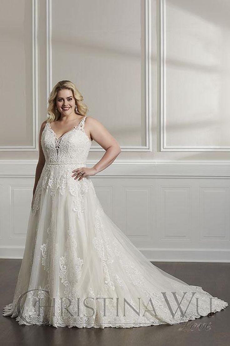 Christina Wu 29320 Plunging V Neck Plus Size Wedding Dress Plus Size Bridal Dresses Plus Size Wedding Gowns Long Wedding Dresses [ 1104 x 736 Pixel ]
