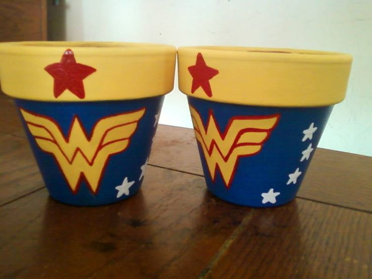 wonder woman flower pots                                                                                                                                                                                 Más