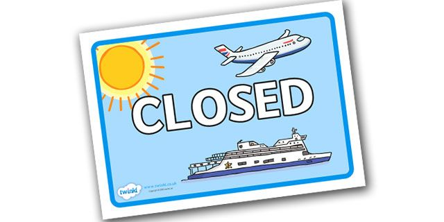 Twinkl Resources >> Travel Agents Closed Sign  >> Classroom printables for Pre-School, Kindergarten, Elementary School and beyond! Role Play, Topics, Travel