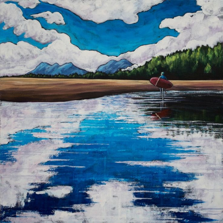 """Reflections at Chesterman Beach 24""""x24"""" acrylic on canvas 2014"""