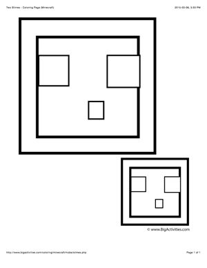 Minecraft Coloring Page With A Picture Of Two Slimes To