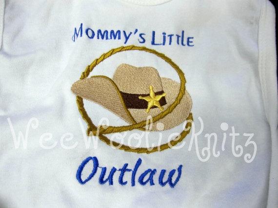 Boys Western Bib Baby Toddler Cowboy Hat Lasso by WeeWoolieKnitz, $9.70