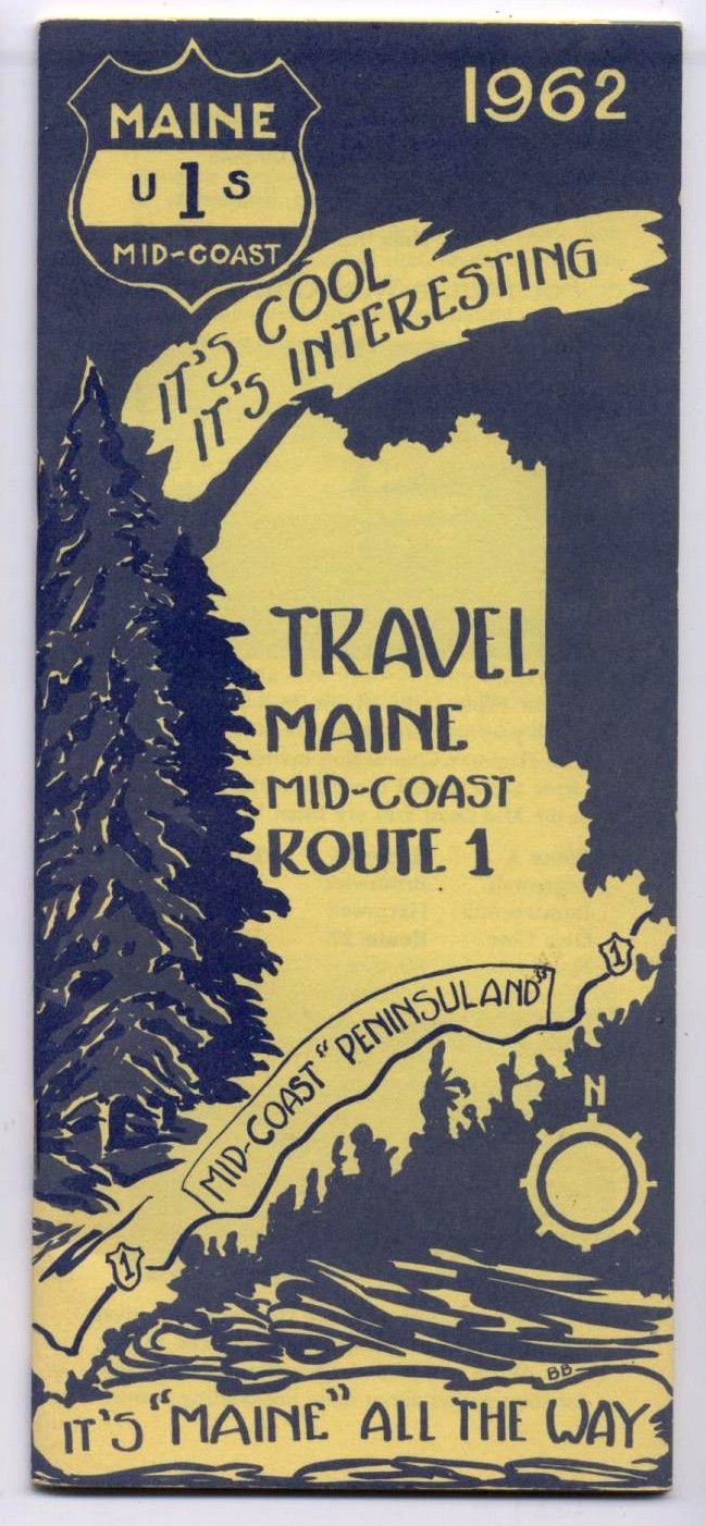 Vintage Scarce 1962 MAINE US ROUTE 1 Mid Coast