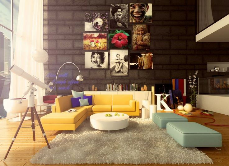 Full Of Artwork Colorful Living Room Decor With White Fur Rug And Comfortable Mini Sofa