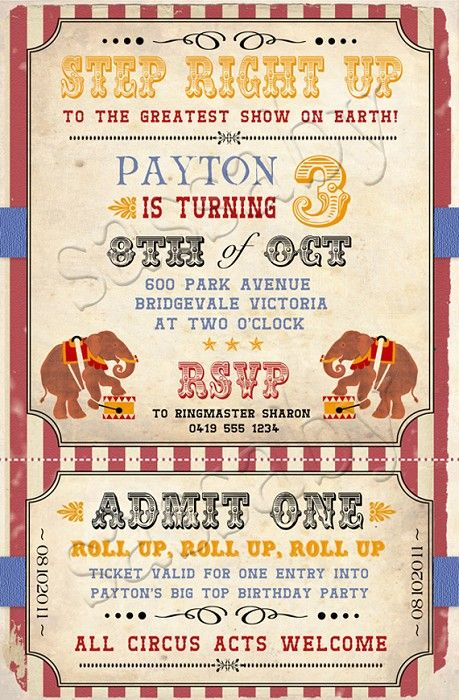 Vintage Circus Birthday Invitation - DIY PRINTABLE DIGITAL FILE - by Sassaby on madeit