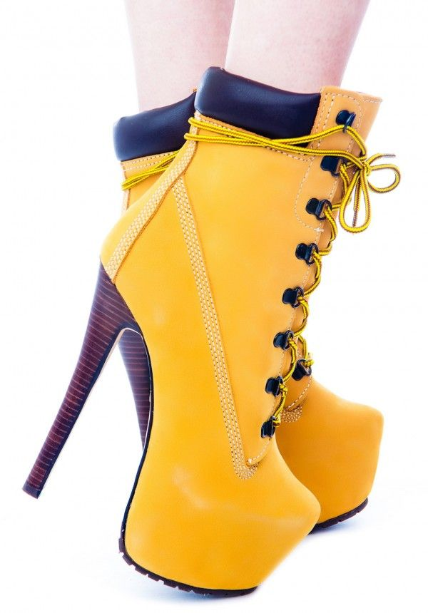 zigi timberland heels with dress