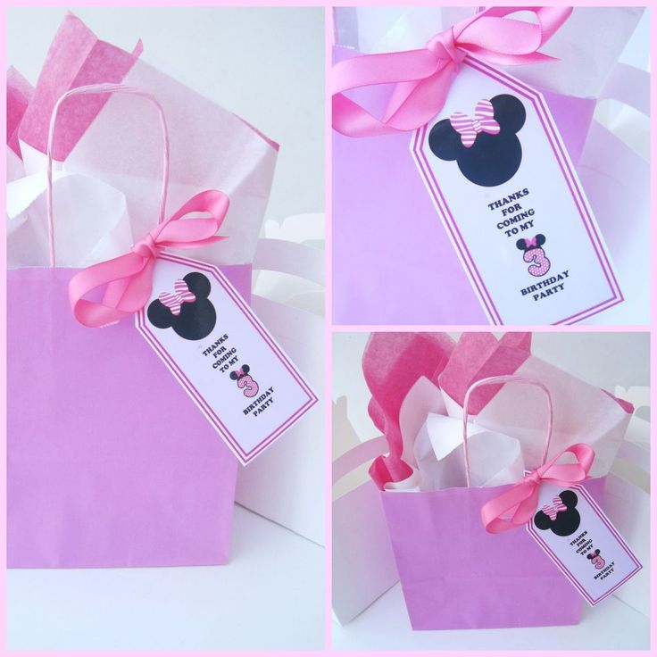 5 x minnie mouse inspired personalised gift tags party bag labels with ribbon