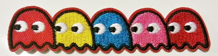 pacman ghosts embroidered iron on patch badge applique