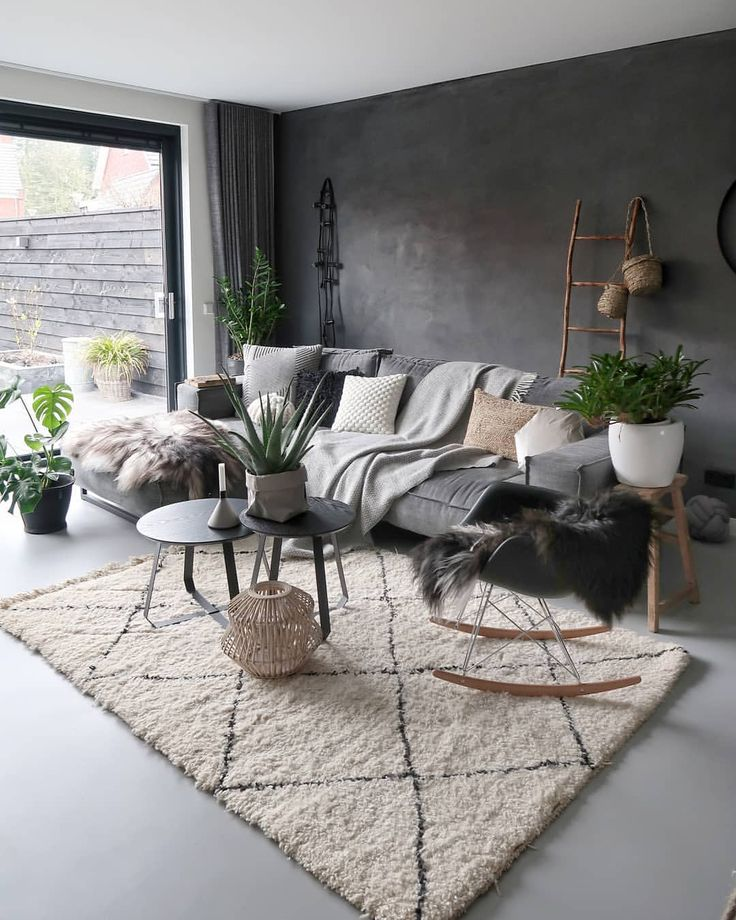 Nordic Style Living Room With White Geometric Rug Grey