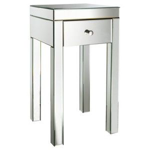 """Threshold™ Mirrored Glass Accent Table with Drawer 25"""""""