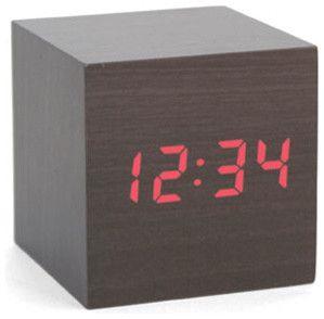 Alarm Clock Wood Cube Dark contemporary-clocks