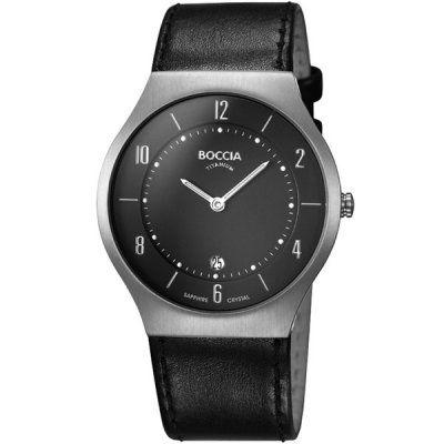 Boccia Mens Black Leather Titanium Watch - B3559-02 - RRP £150.00 - Online Price £127.50