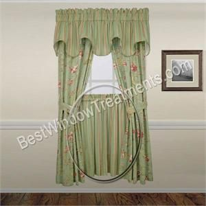 Warwick stripe tier curtains tier curtains - Mint green kitchen curtains ...