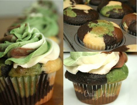 For duck dynasty nights!  camo cupcakes! to make you need 2 boxes of cake batter (one vanilla one chocolate) then you need to divide the batters into 4 different bowls one strictly vanilla one vanilla with green food dye one chocolate and one chocolate and vanilla mixed until you get the perfect color. Then you just fill each wrapper with batter from each bowl