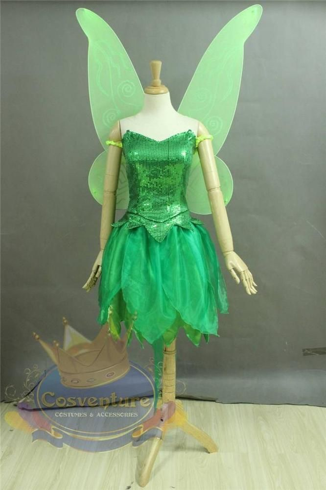 Tinker Bell Costume Dress Custom Made Gorgeous Cosplay Peter Pan Wings Included!