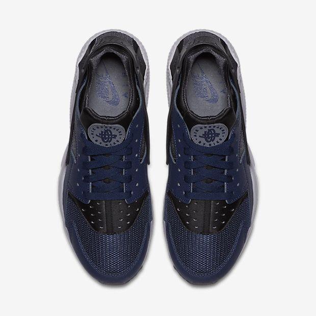 the latest 178b4 acbaf Chaussure Nike Air Huarache Pas Cher Femme et Homme Bleu Nuit Marine Cendre  Fonce Gris Froid
