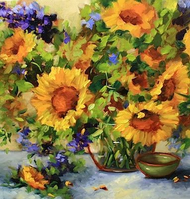 Simple Joys Sunflowers and Larkspur by Texas Flower Artist Nancy Medina, painting by artist Nancy Medina