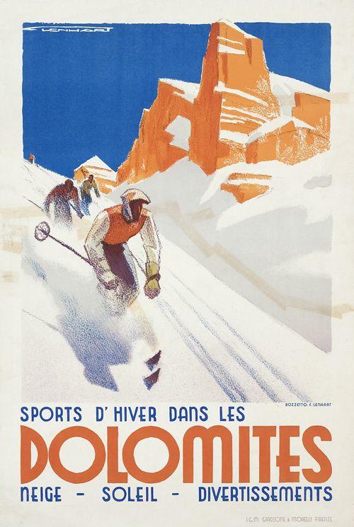 Franz J. Lenhart, poster artwork for Sports d' Hiver dans les Dolomites, 1930. Italy.