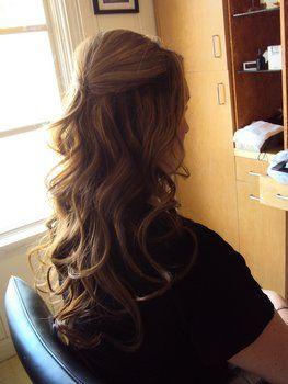 Wedding, Hair, Makeup, And, Up, Down, Half: Hair Ideas, Loose Curls, Wedding Hair, Half Up, Bridesmaid Hair, Long Hair, Prom Hair, Hair Makeup, Hair Style