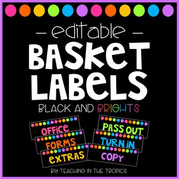 Editable Paper Basket Labels: These paper basket labels will match perfectly with your existing black and brights classroom decor and help you keep all your papers organized. I use them on the paper baskets from Really Good Stuff, but they will work on paper baskets from Dollar Tree, Target, or anywhere else!
