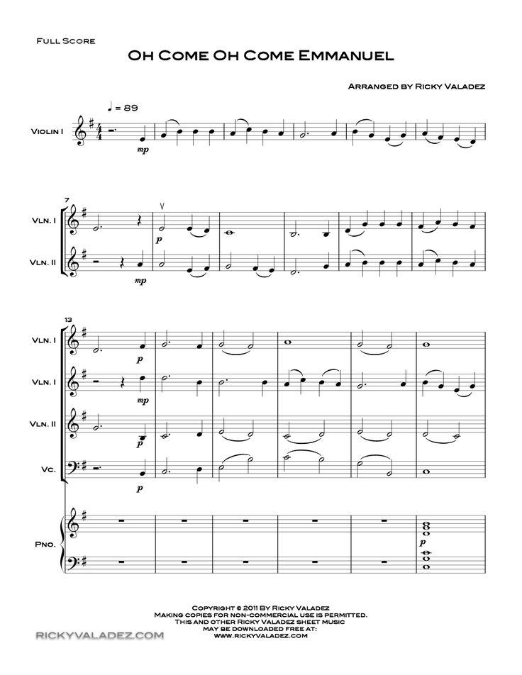 Oh Come, Oh Come, Emmanuel --piano, 3 violins, cello