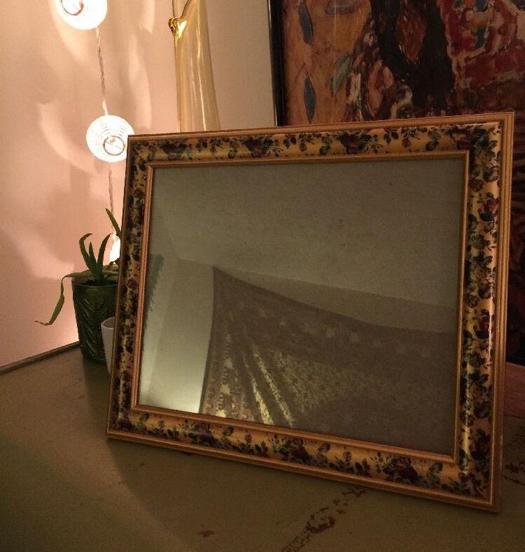Vintage Gold/Floral Picture Frame - 10 x 8 in. Hipster/Hippie/FlowerChild/Artsy
