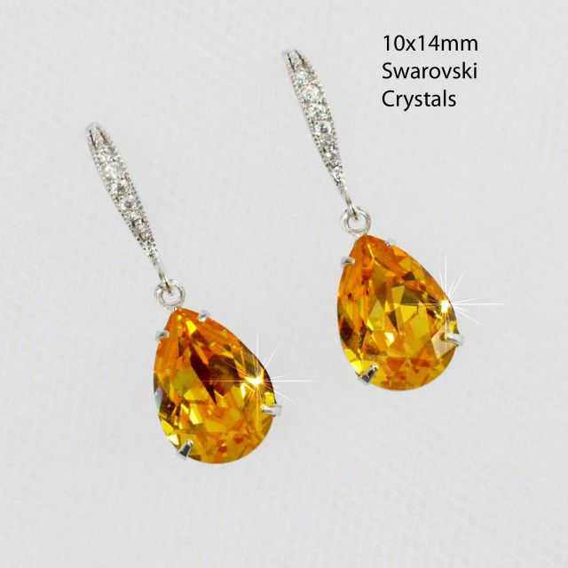 Small Swarovski Crystal Sunflower Yellow Teardrop Earrings (Sparkle-2357-U)