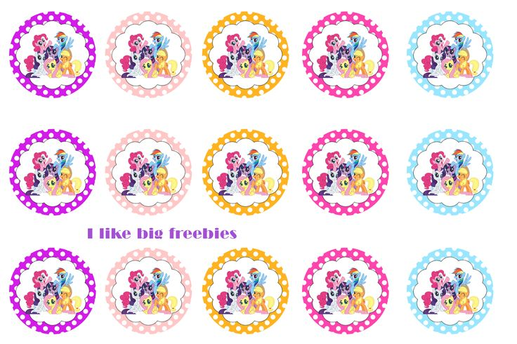 My Little Pony (group) bottle cap images for hairbows/cupcake toppers