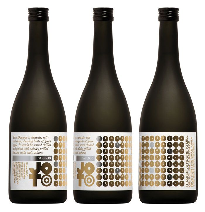 """""""To Western consumers, traditional Japanese sake labelling is indecipherable and largely indistinguishable. Joto's packaging opts for bold colour and infographics describing each sake's brewing process and tasting notes. The logo developed for the company was inspired by the geometrical minimalism of Japanese design, but contains a visual delight for the sake aficionado."""" #japanese #package #design"""